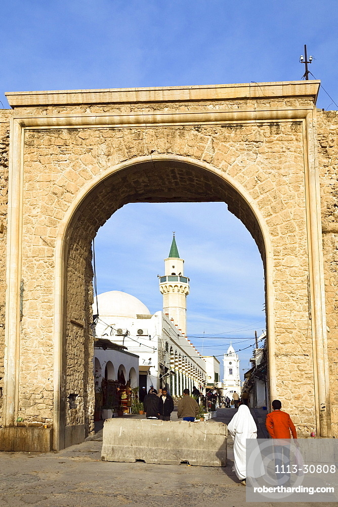 City Gate Bab al Khendig, Old Town, Green Square, Tripoli, Libya, Africa