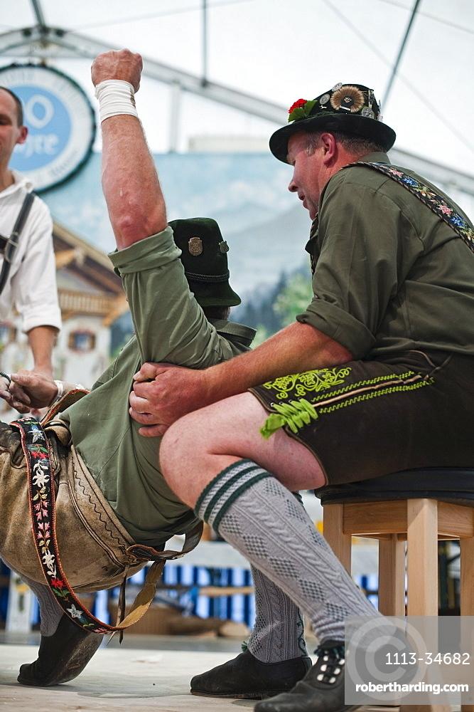 Competition, Alpine Finger Wrestling Championship, Antdorf, Upper Bavaria, Germany