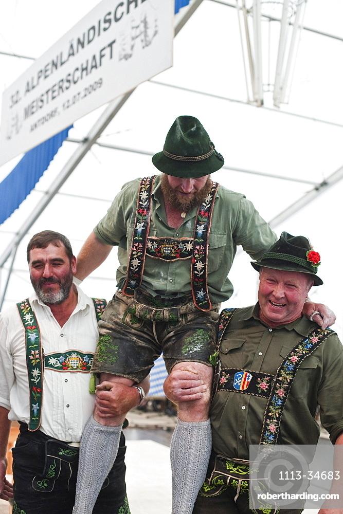 Winner, Alpine Finger Wrestling Championship, Antdorf, Upper Bavaria, Germany