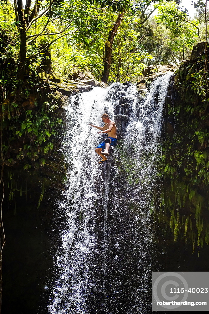 Young man jumps from a waterfall, Hana, Maui, Hawaii, United States of America