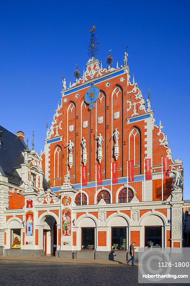 House of Blackheads and Schwab House, Town Hall Square, Old Town, Riga, Latvia, Northern Europe,