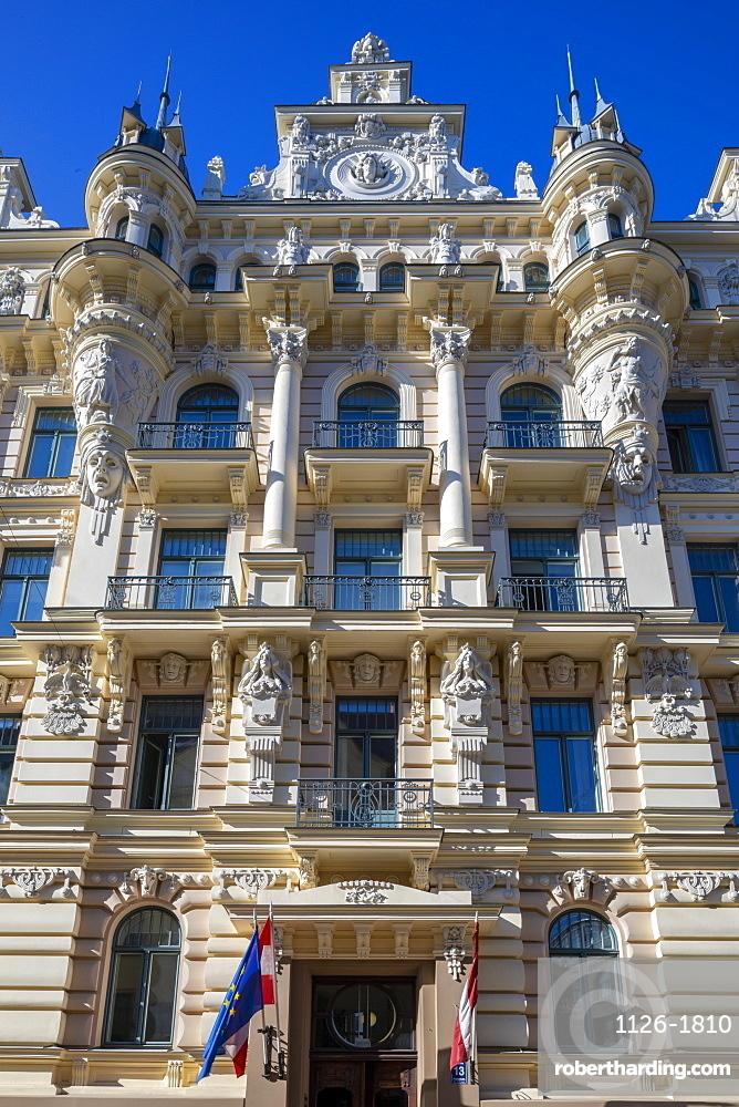 Art Nouveau architecture on Albert Street, Riga, UNESCO World Heritage Site, Latvia, Europe
