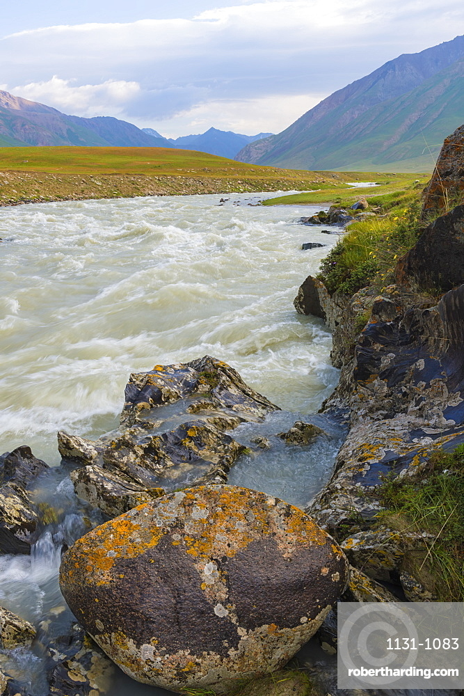 River flowing on rocks, Naryn Gorge, Naryn Region, Kyrgyzstan, Central Asia, Asia