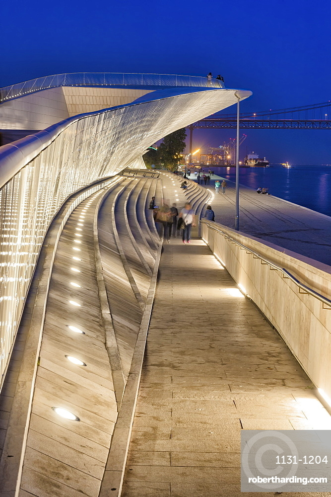 MAAT, Museum of Art Architecture and Technology at night, Belem district, Lisbon, Portugal