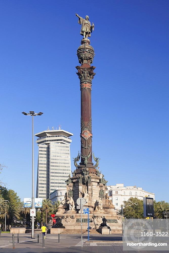 Columbus Monument (Monument a Colom), Placa del Portal de la Pau, Barcelona, Catalonia, Spain, Europe