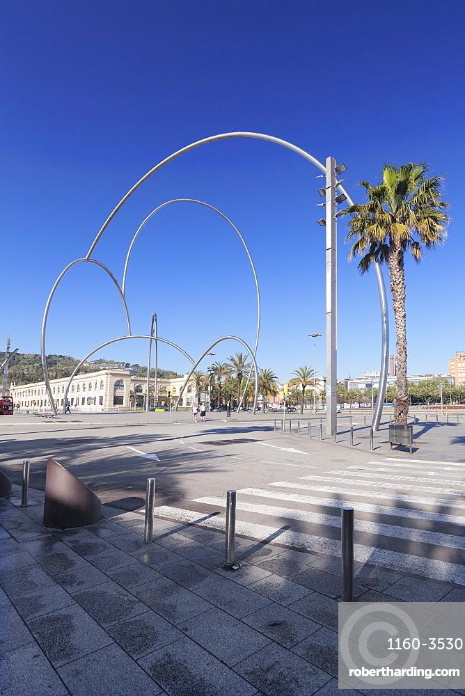 Onades (Waves) sculpture by Andreu Alfaro, Placa del Carbo, Barcelona, Catalonia, Spain, Europe