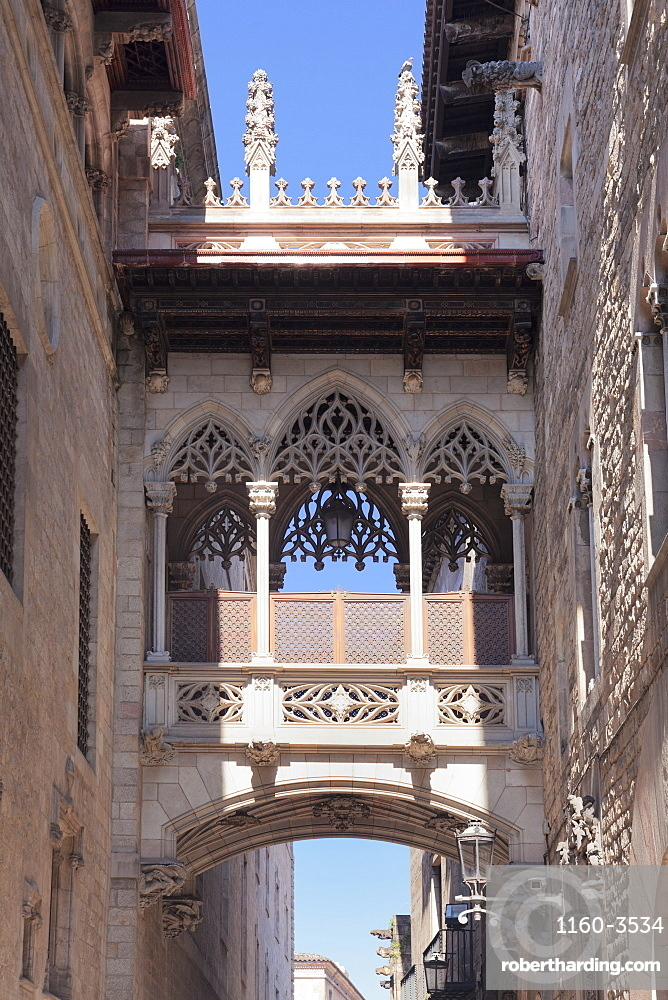 Pont del Bispe Bridge over Carrer del Bispe street, Palau de la Generalitat, Barri Gotic, Barcelona, Catalonia, Spain