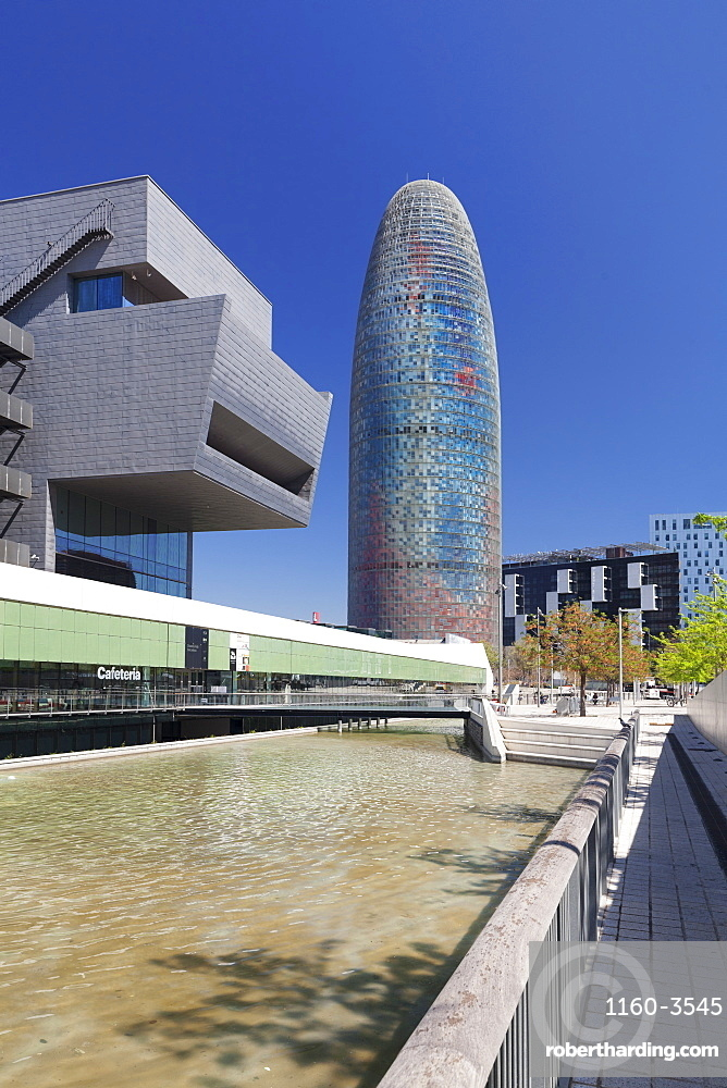 Torre Agbar, architect Jean Nouvel, Placa de les Glories Catalanes, Barcelona, Catalonia, Spain, Europe