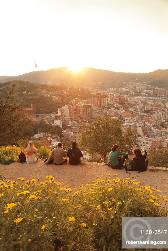 View from Bunker at El Carmel to Tibidabo Mountain, Sierra de Collserola, Barcelona, Catalonia, Spain, Europe