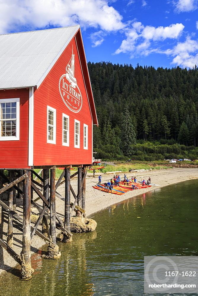Restored salmon cannery museum and kayaks, Icy Strait Point, Hoonah, summer, Chichagof Island, Inside Passage, Alaska, United States of America, North America