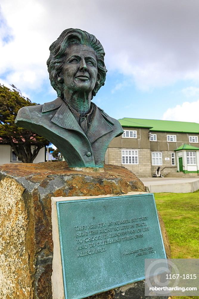 Margaret Thatcher bronze statue, brass plaque, Secretariat, Central Stanley, Port Stanley, Falkland Islands, South America