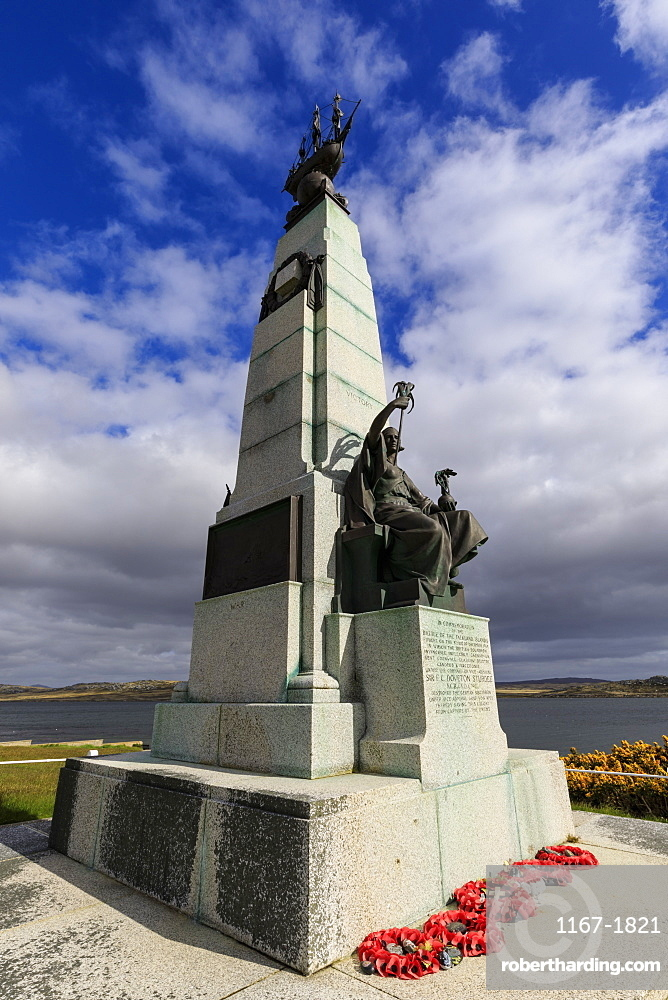 1914 Battle of the Falklands Memorial, sea, distant mountains, Stanley waterfront, Port Stanley, Falkland Islands, South America