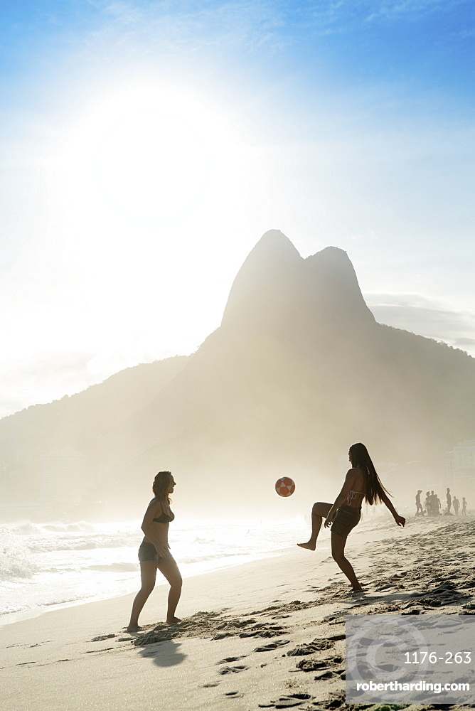 Women playing altinha (football) on Ipanema beach, Rio de Janeiro, Brazil, South America