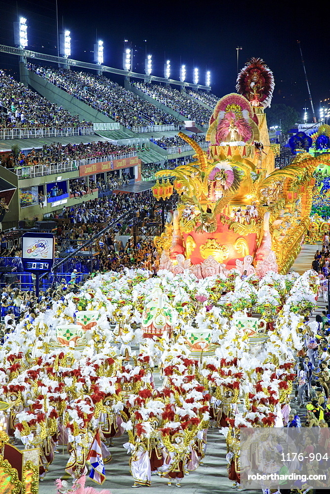 Brazil, Rio de Janeiro, dancers at the main Rio de Janeiro carnival parade in the Sambadrome (Sambodromo) arena
