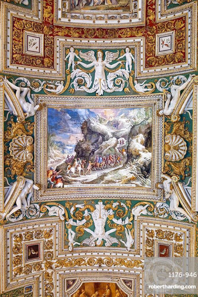 The painted ceiling in the stock photo the painted ceiling in the gallery of maps vatican museum unesco world heritage site gumiabroncs Gallery