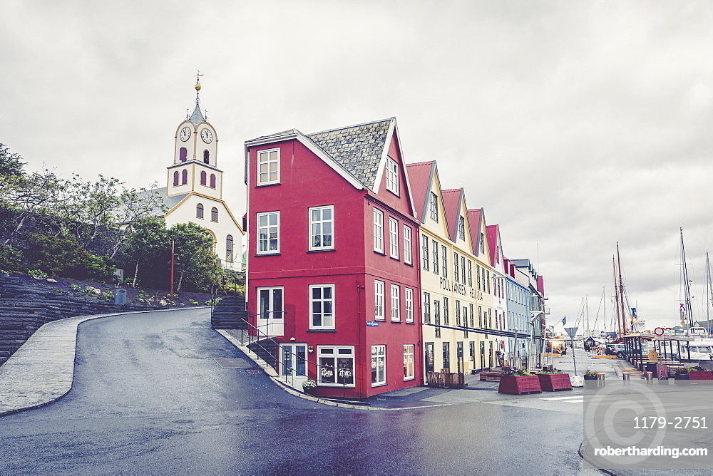 Cathedral and typical houses in the city centre of Torshavn, Streymoy Island, Faroe Islands, Denmark, Europe