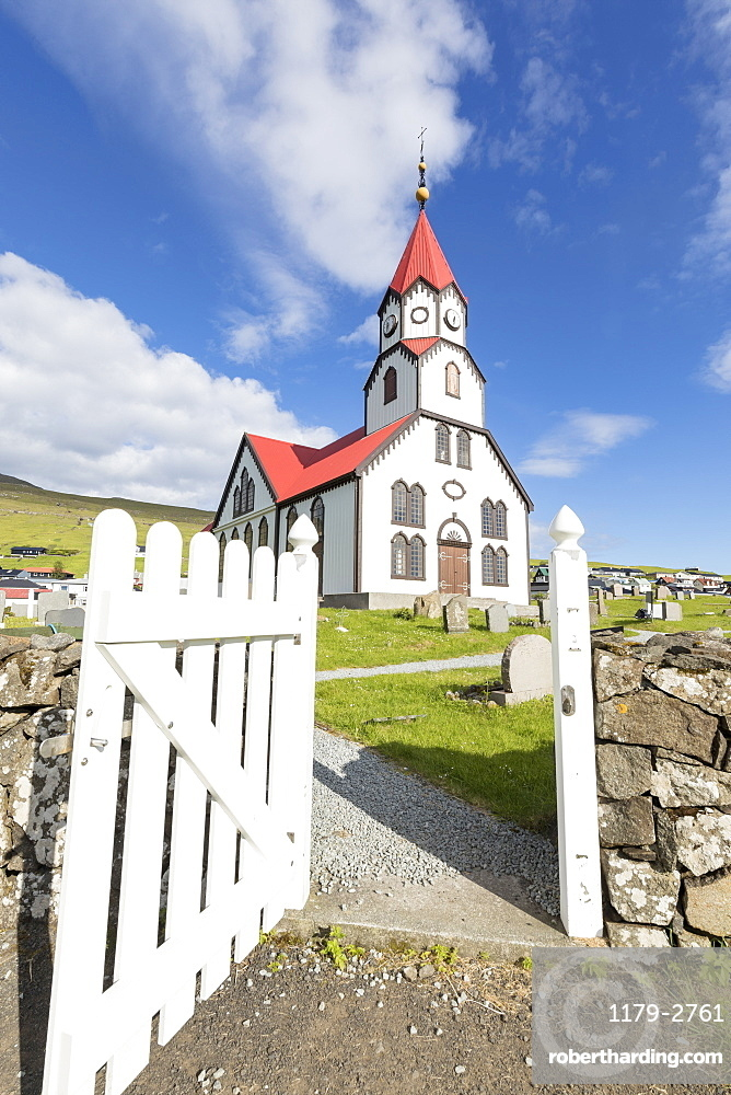 Church of Sandavagur, Vagar Island, Faroe Islands, Denmark, Europe