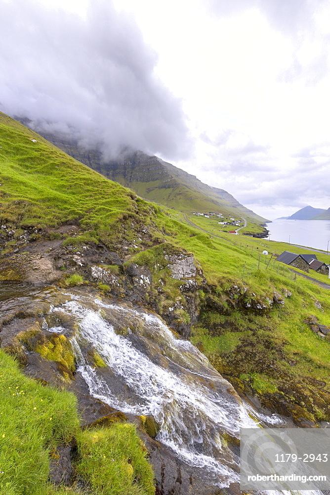 Waterfall, Kunoy Island, Nordoyar, Faroe Islands, Denmark