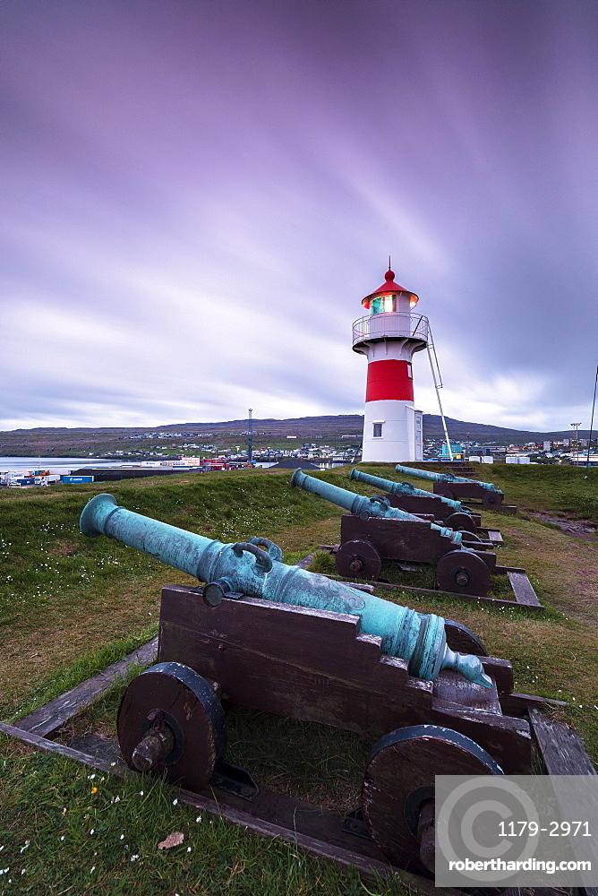Lighthouse and cannons, Torshavn, Streymoy Island, Faroe Islands, Denmark, Europe