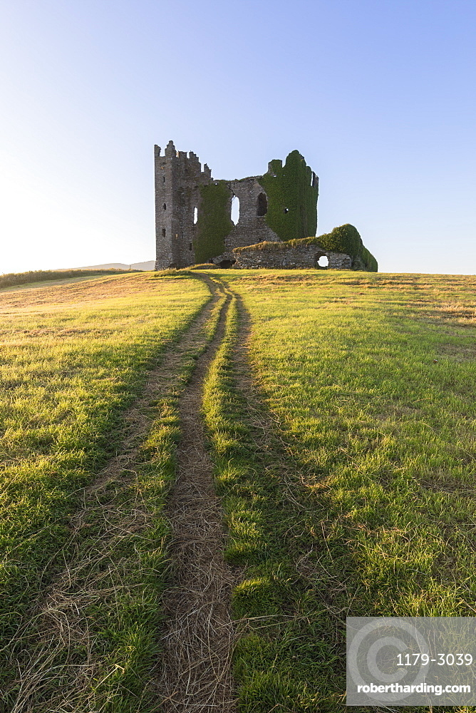 Grass fields around Ballycarbery Castle, Cahersiveen, County Kerry, Ireland