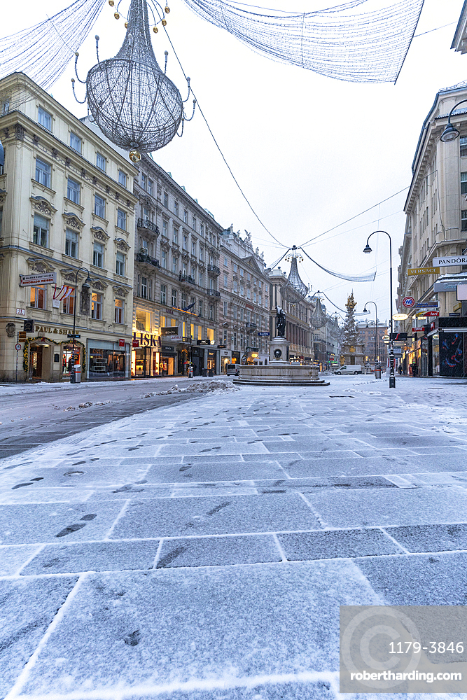Christmas ornaments in the iconic Graben street, famous for shopping, Vienna, Austria, Europe