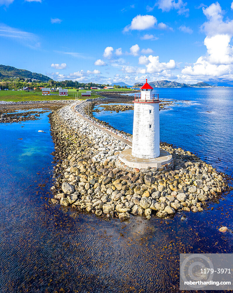 Front view of Hogsteinen Lighthouse, aerial view, Godoya Island, Alesund, More og Romsdal County, Norway (drone)