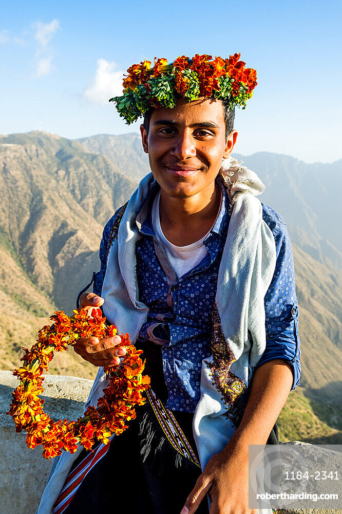 Famous flower man in Mount Souda, highest mountain in Saudi Arabia, Abha, Saudi Arabia, Middle East