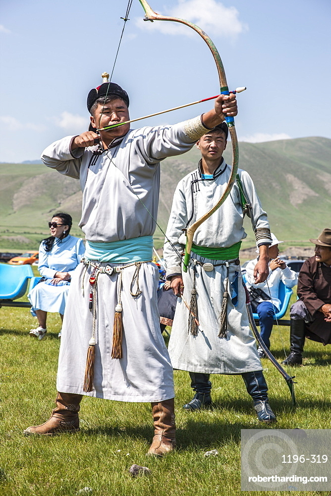 Archery at Naadam Festival, Mongolia, Central Asia, Asia