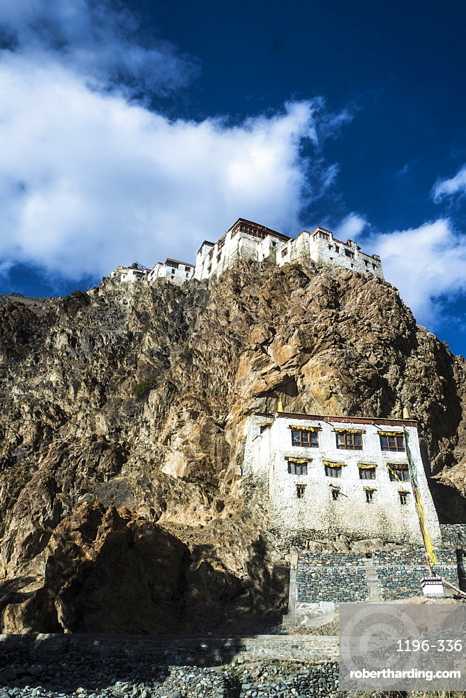 View of Kharsha Monastery from uphill walkway to Kachod Drub Ling Nunnery. Roughly one - hundred monks reside in Kharsha and they follow the Gelugpa order. It is the largest monastery in the Zanskar region. Top of the monastery serves the beautiful view o
