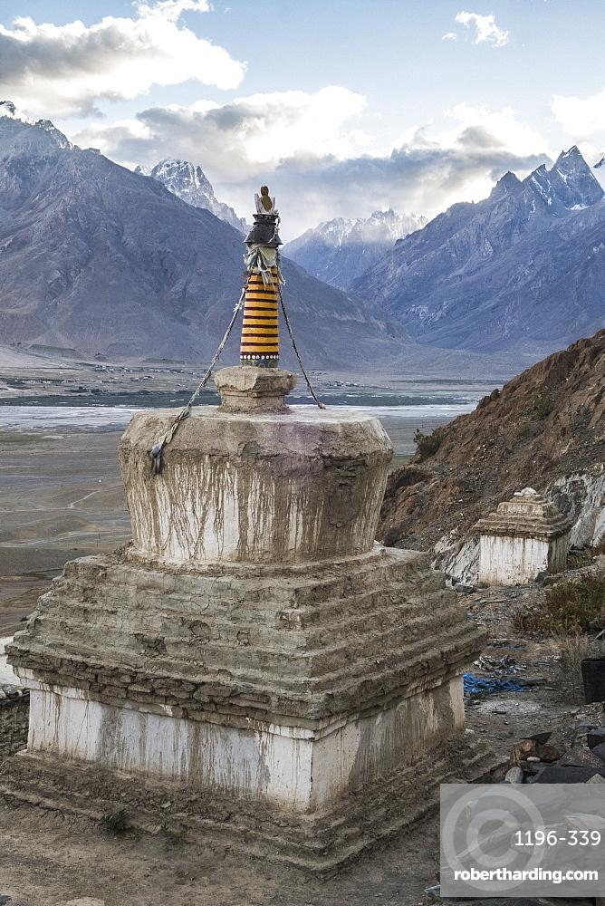 Chorten at Kachod Drub Ling Nunnery, overlooking Kharsa Valley, Ladakh, India, Himalayas, Asia