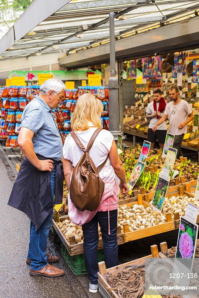 People browsing in Bloemenmarkt, Amsterdam, Netherlands, Europe