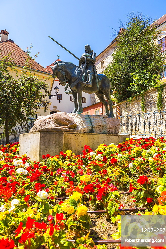 Saint George slaying The Dragon monument, Zagreb, Croatia, Europe