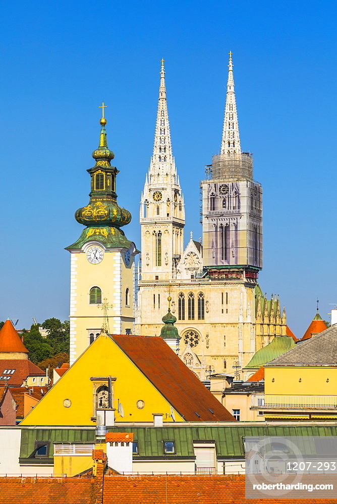 View of the Cathedral of the Assumption Blessed Virgin Mary, Zagreb, Croatia, Europe