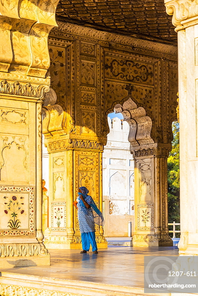 Woman in Khas Mahal in the Red Fort, New Delhi, India, Asia