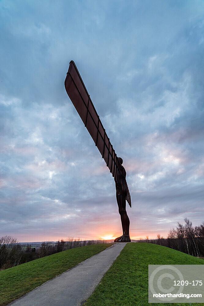 Antony Gormley's Angel of the North at sunset, Gateshead, Tyne and Wear, England, United Kingdom, Europe