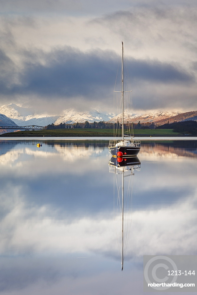 The still waters of Loch Leven near Ballachulish on a winter morning, Glencoe, Scottish Highlands, Scotland, United Kingdom, Europe.