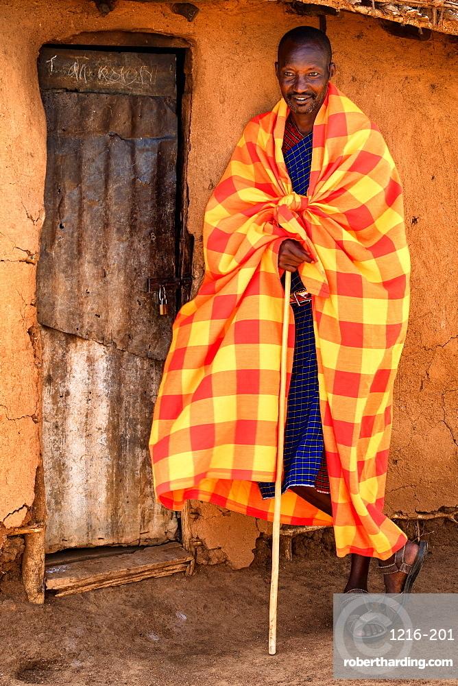 Masai Warrior, Masai Mara, Kenya, East Africa, Africa