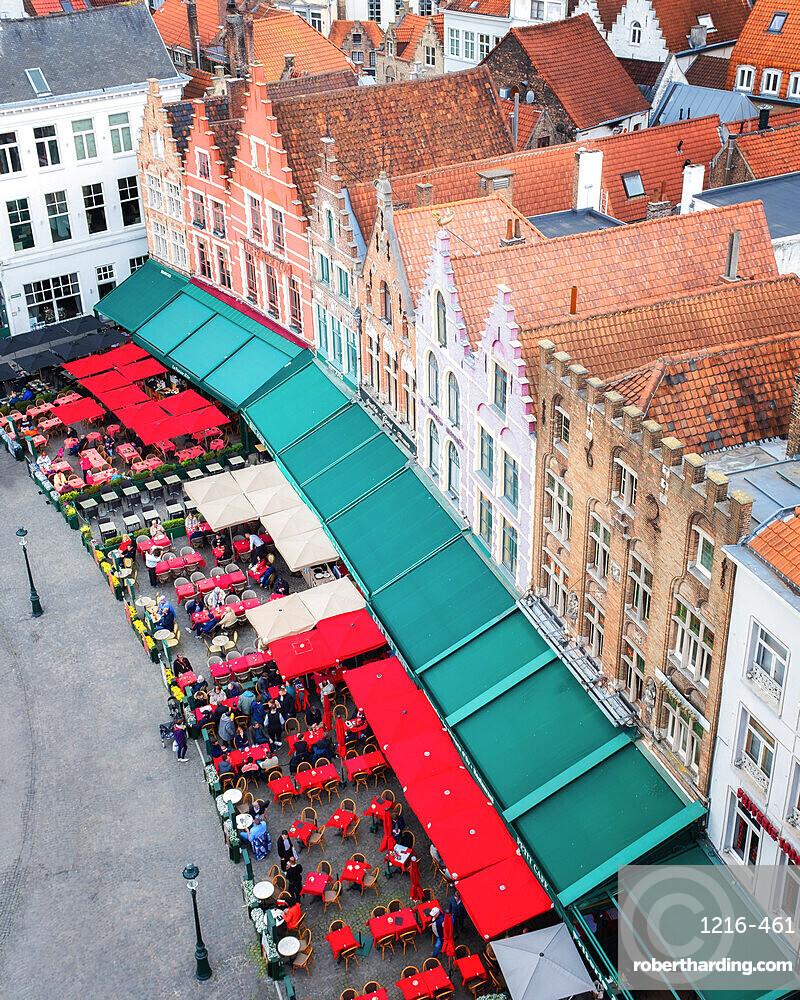 Medieval guild houses on Market (Markt) square, Bruges, West Flanders, Belgium