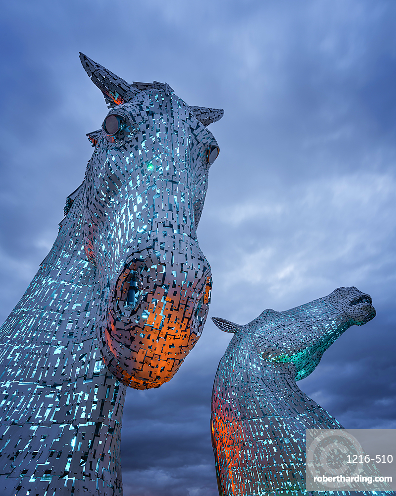 The Kelpies at blue hour, Forth and Clyde Canal at Helix Park, Falkirk, Stirlingshire, Scotland, United Kingdom