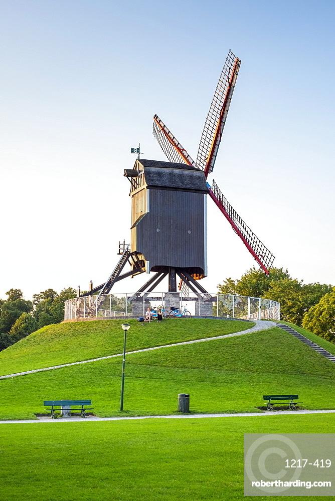 Sint-Janshuis Mill (Sint-Janshuismolen) windmill in the Kruisvest park, Bruges (Brugge), West Flanders (Vlaanderen), Belgium, Europe