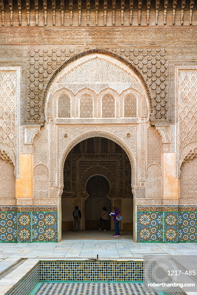 Morocco, Marrakech-Safi region, Marrakesh. Interior courtyard of Ben Youssef Madrasa, 16th century Islamic college.