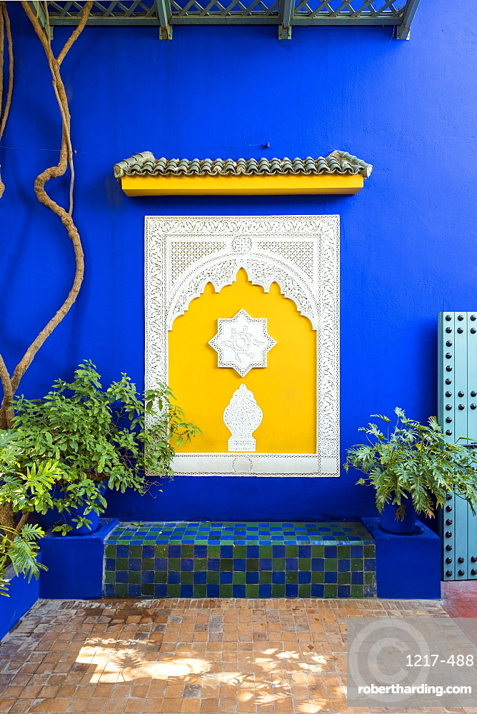 Decorative architectural elements and blue wall at Jardin Majorelle Gardens, Marrakesh, Morocco, North Africa, Africa