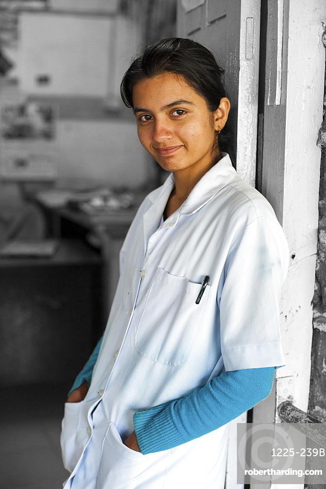 A nurse at Gorkha district hospital in Nepal, Asia