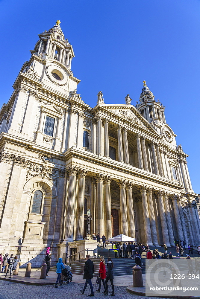 St. Paul's Cathedral, West Portico, London, England, United Kingdom, Europe