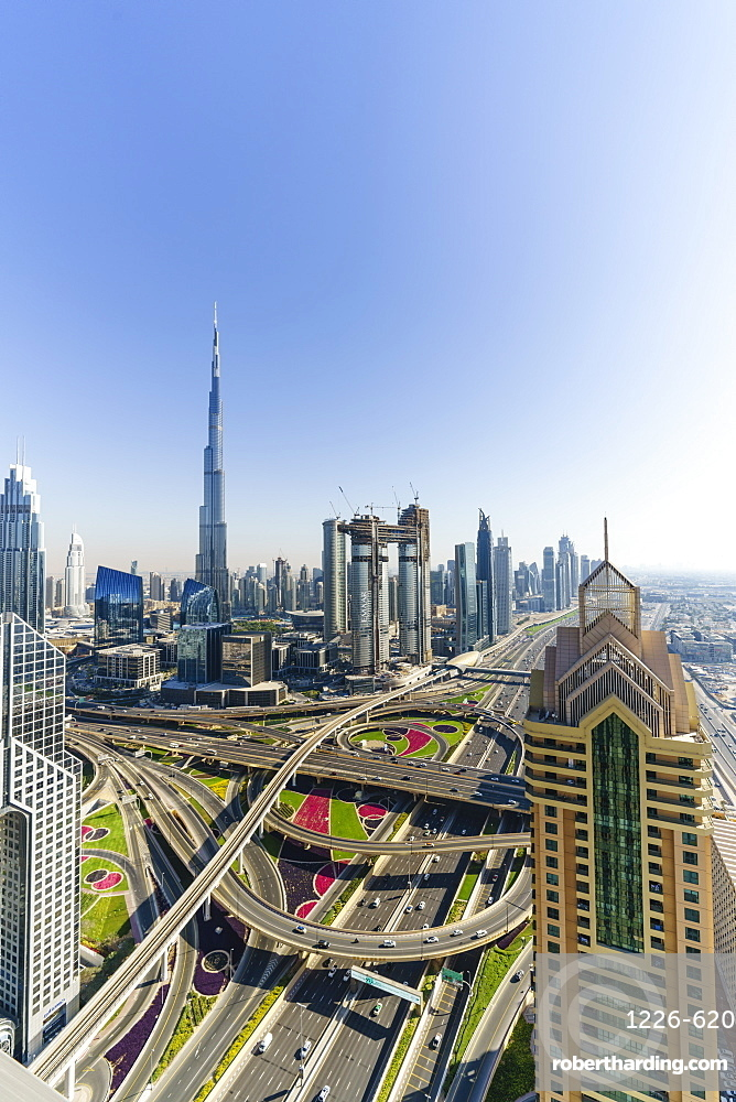Dubai skyline and Sheikh Zayed Road Interchange, Dubai, United Arab Emirates, Middle East