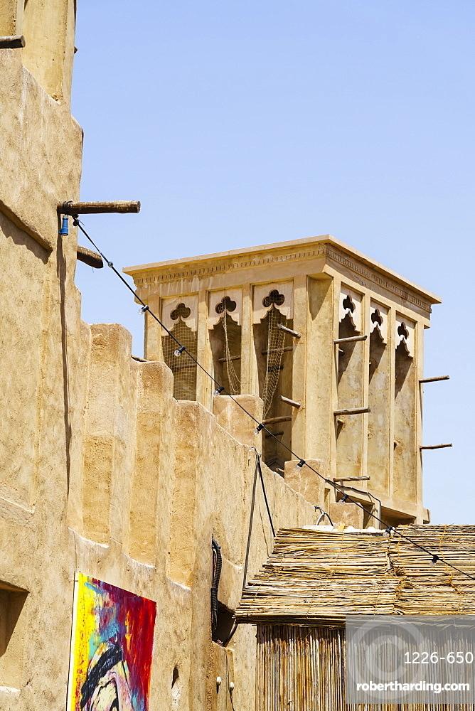 Restored traditional houses in Al Fahidi Historic Neighbourhood, Bur Dubai, Dubai, United Arab Emirates
