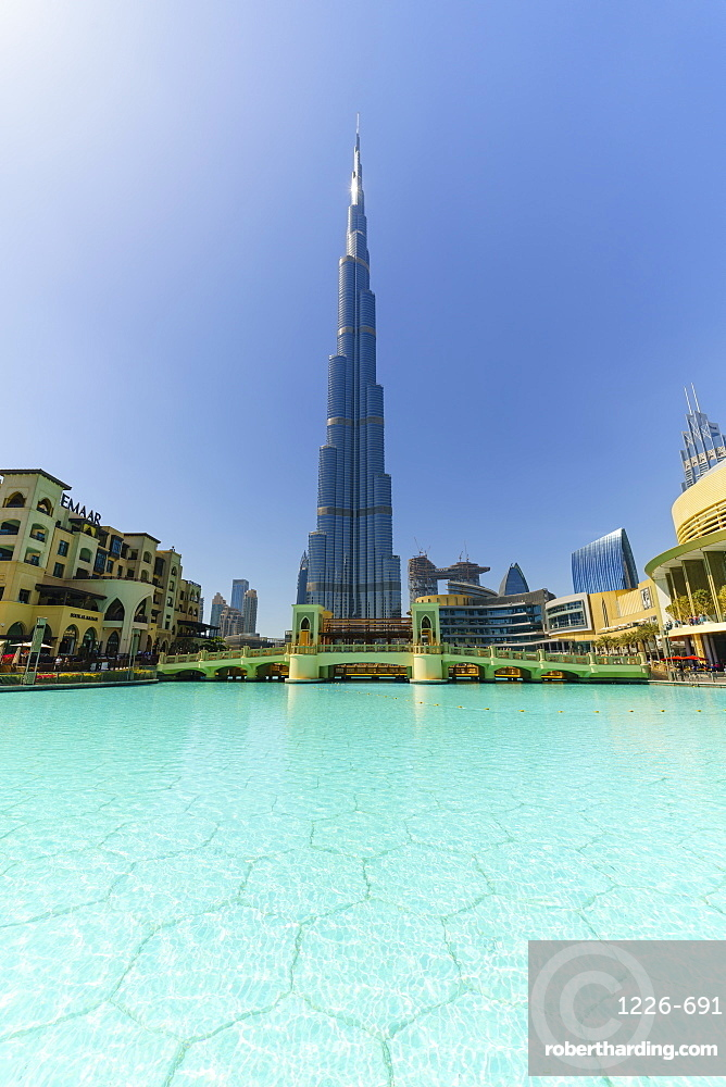 Burj Khalifa and Lake, Downtown, Dubai, United Arab Emirates