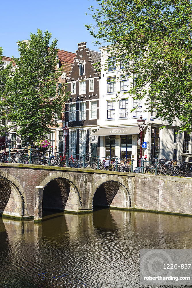 A bridge over the Herengracht canal, Amsterdam, North Holland, The Netherlands, Europe