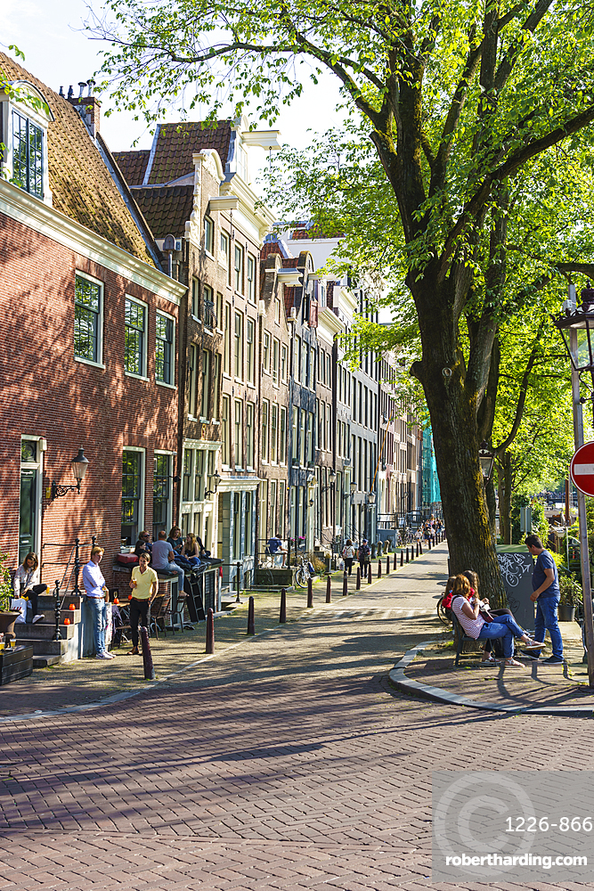 Old gabled buildings by a canal, Amsterdam, Netherlands