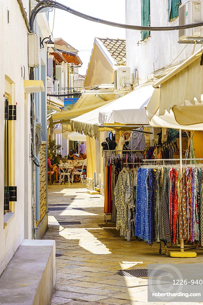 Narrow street in Gaios, Paxos, Ionian Islands, Greek Islands, Greece, Europe